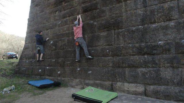 Rock Climbing Photo: James and Mike traversing around