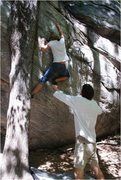 Rock Climbing Photo: Dime crack. Starting crack obscured by spotter