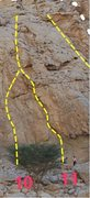 "Rock Climbing Photo: The topo of the route. ""Locust Eater"" is..."