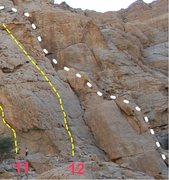 Rock Climbing Photo: Close up topo of the Slab Climb (5.4).