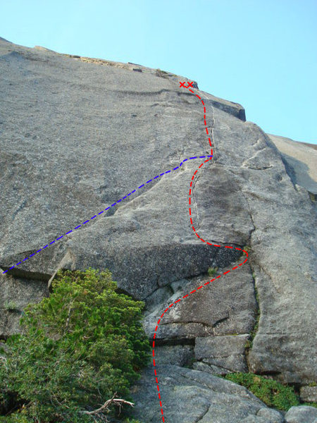 Blue line is the standard 10a start. The red line is the direct, 11-, start. I can't comment on the quality of the standard start, but the direct finger crack is excellent...even the undercling at the beginning is a lot of fun.<br> <br> Photo credit: Rick D.