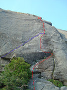 Rock Climbing Photo: Blue line is the standard 10a start. The red line ...