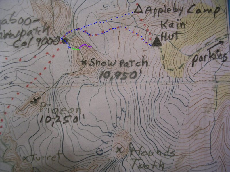 Map of Sunshine Wall<br> contour interval:  100 feet<br> <br> Lavender - Sunshine Wall<br> Lime - West Face rappels<br> Blue - Bugaboo-Snowpatch Col