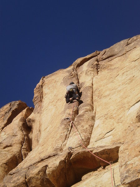 Rock Climbing Photo: A view from below of the thin steepness.  Not much...