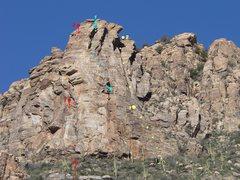 Rock Climbing Photo: Echo Dancer 5.9+, Tongue of Death 5.9, Yabbadabbad...