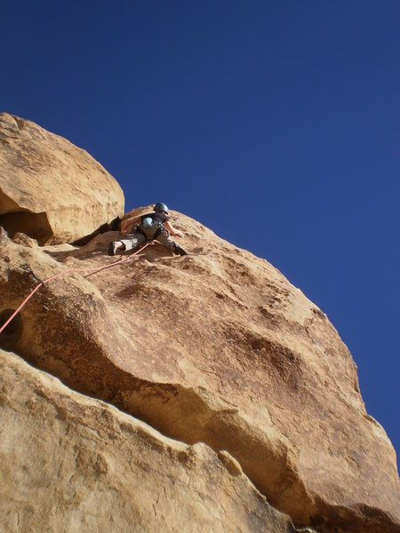 Rock Climbing Photo: Mary working out the sequence up high.