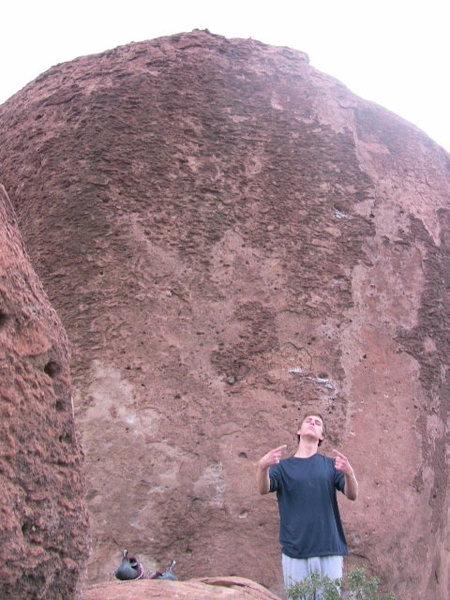 Dishpan Hands brutal v8-v9, cam fam and cam gram is on opposite side of the boulder
