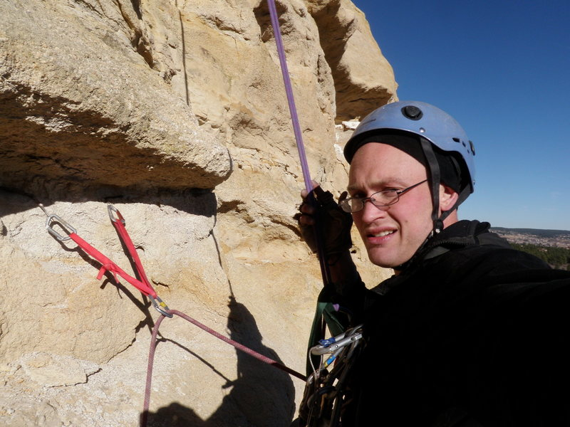 Cleaning the equalized beaks on rappel.  Unsure how they actually held.