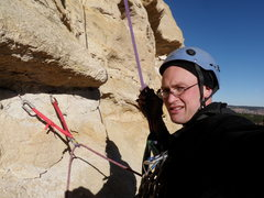 Rock Climbing Photo: Cleaning the equalized beaks on rappel.  Unsure ho...