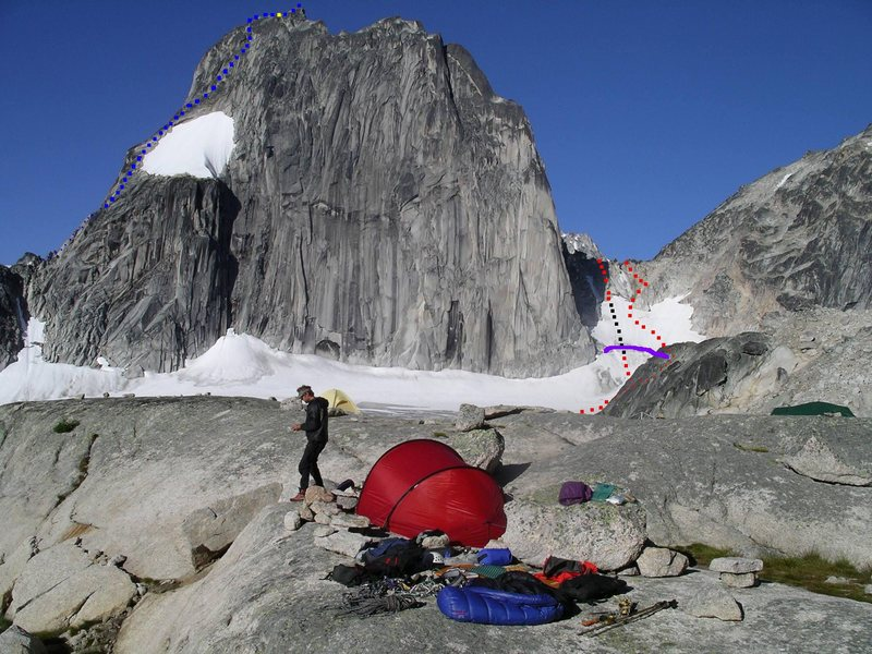 Snowpatch routes from Applebee<br> Photo by MP contributor Steven Lucarelli<br> <br> Blue - Wiessners Route<br> Red - Bugaboo Snowpatch Col<br> Purple - Bergschrund<br> Black - 60 meter rappel<br> Yellow - first Kraus-McCarthy rap anchor