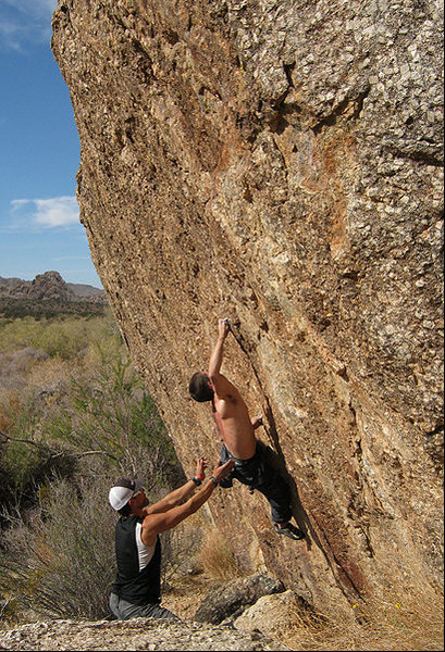 Danny working on the South Face.<br> Photo by Blitzo.