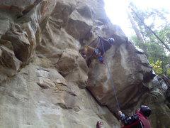 Rock Climbing Photo: Joe W. Takes on the bulge.  Seth Belays from Mount...