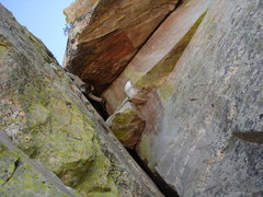 Rock Climbing Photo: 3rd pitch. crux move through the tapered head size...
