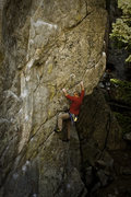 Rock Climbing Photo: Middle of the crux on Free Fall.