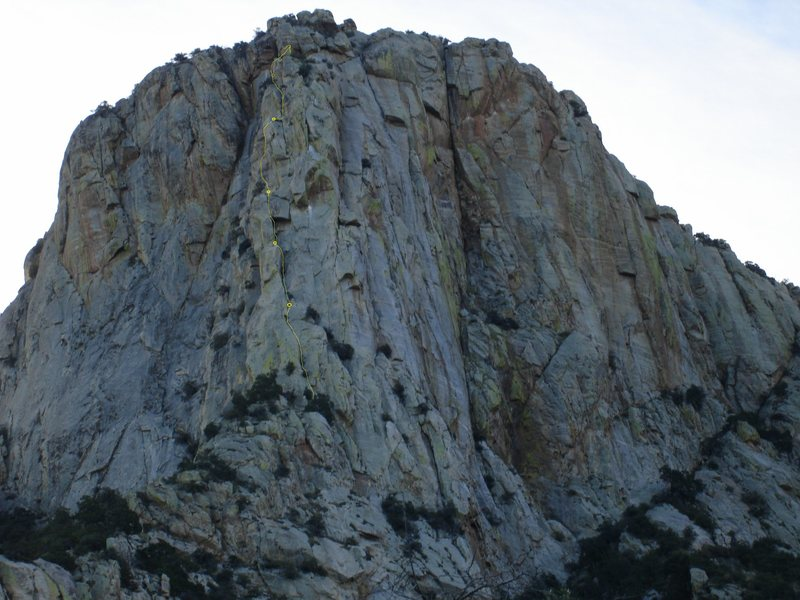 Route in yellow. little fuzzy on belay spot near top in photo.  Choose and scramble rest of way.<br> --photo by David Tilley--