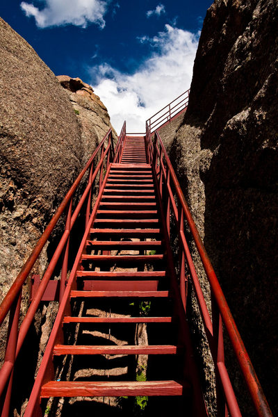 Stairs leading to the fire lookout.