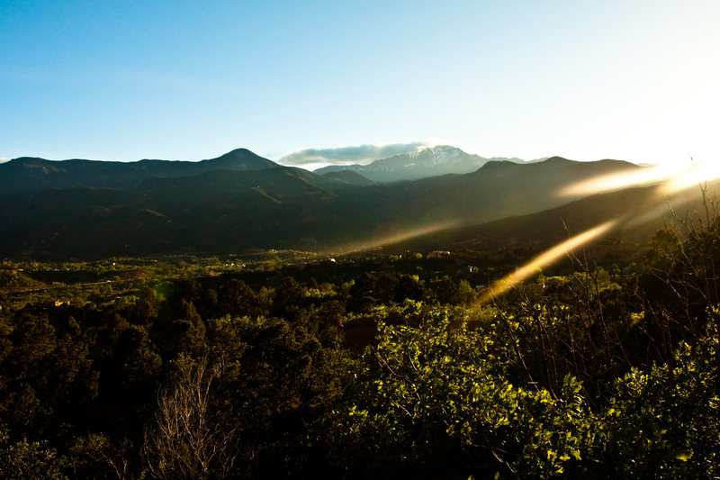 Rock Climbing Photo: Pike's Peak sunset from Garden of the Gods.
