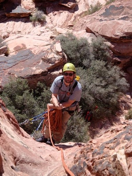 The first pitch belay on Chips and Salsa (5.3) Red Rocks, NV.
