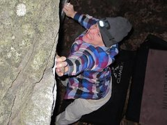 Rock Climbing Photo: Working Try Again at during a night session.
