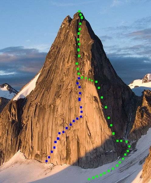 Bugaboo Corner on Snowpatch Spire<br> Photo by MP contributor Avery Nelson<br> <br> Green Squares- Bugaboo Corner to North Summit <br> Green dots - The hidden chimney passage to the east face.<br> Blue - Sunshine Wall