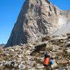 Porter approaching La Esfinge, Paron Valley, Peru