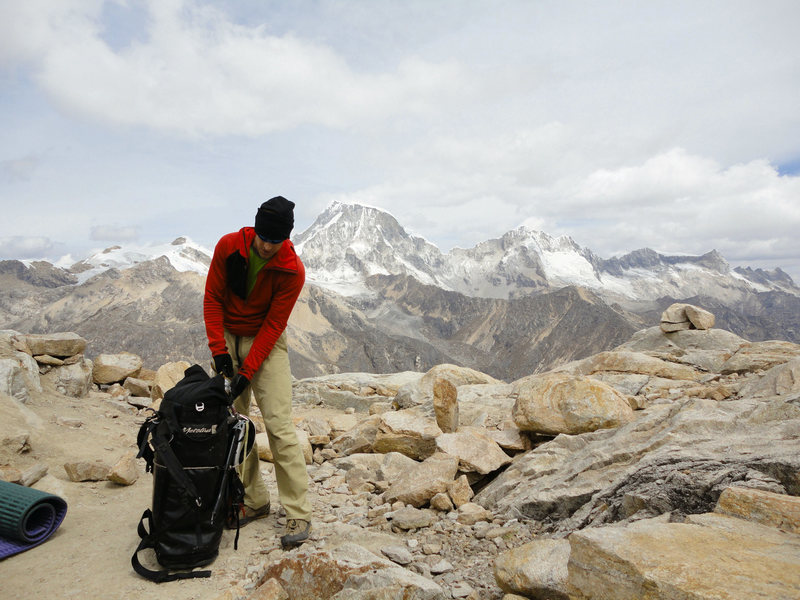 High camp with 6000m peaks in background.