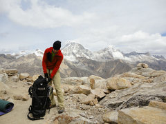 Rock Climbing Photo: High camp with 6000m peaks in background.