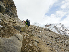 Rock Climbing Photo: Approaching Tocllaraju high camp.