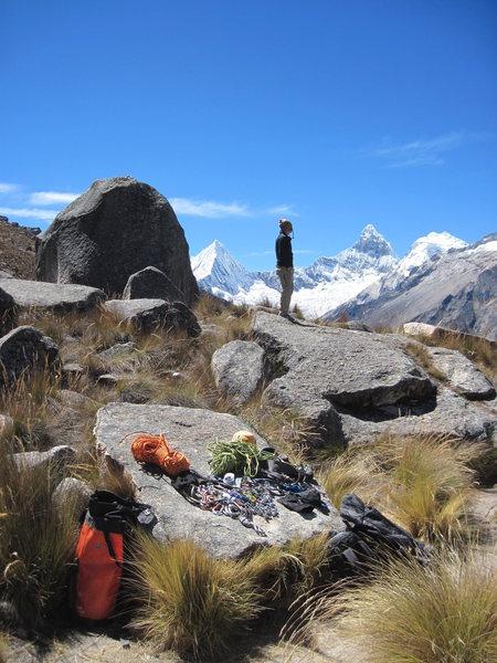 Rock Climbing Photo: Andrew Gomoll surveys the Paron Valley, Peru.
