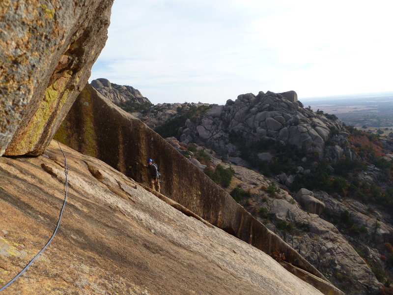 Rock Climbing Photo: Pitch 2 of Great Expectations taken from anchors a...