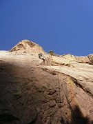 Rock Climbing Photo: Racing the shadow up @ the crux.