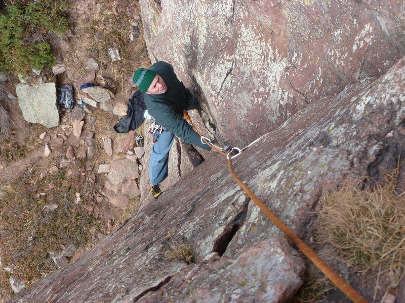 Rock Climbing Photo: First pitch on Black Friday.  Cold, but better tha...