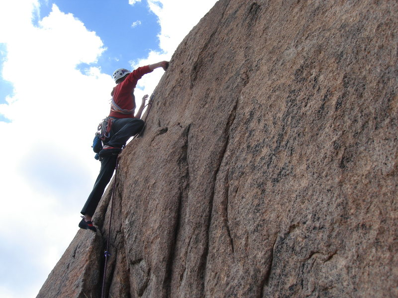 Rock Climbing Photo: The crack at the start of pitch 2. First bolt is r...