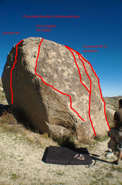 A great look at the south, south/west side of the Chocolate boulder.