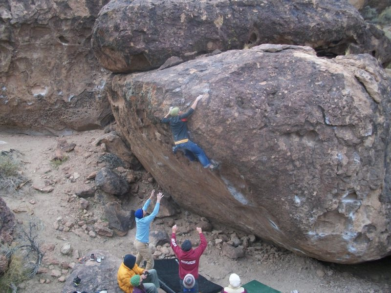 Rock Climbing Photo: Reaching up after the crux.