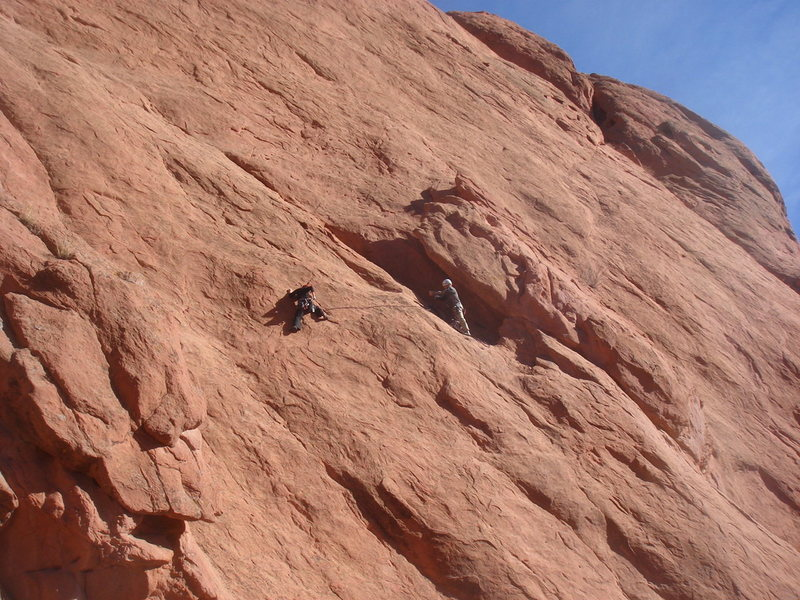 Rock Climbing Photo: Roland and Myong on Lower Finger Traverse.