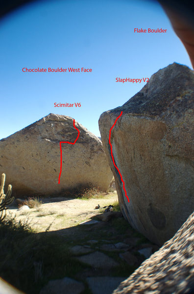 Rock Climbing Photo: Highlighted in Red, Right route.