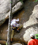 Rock Climbing Photo: A nice tree to have at the start. Ben climbing, Ro...