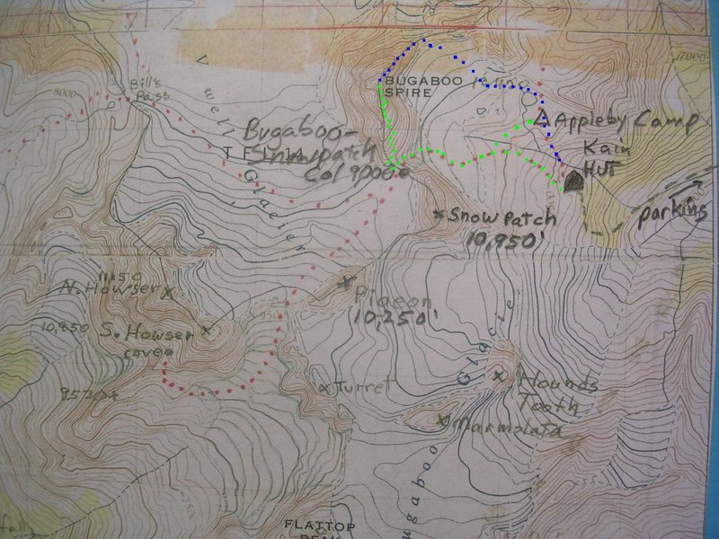 Kain Route Map<br> contour interval : 100 feet<br> <br> Green - Kain Route<br> Blue - Northeast Ridge