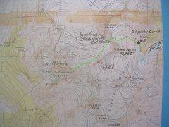 Rock Climbing Photo: The Big Hose Map contour interval: 100 feet  Green...
