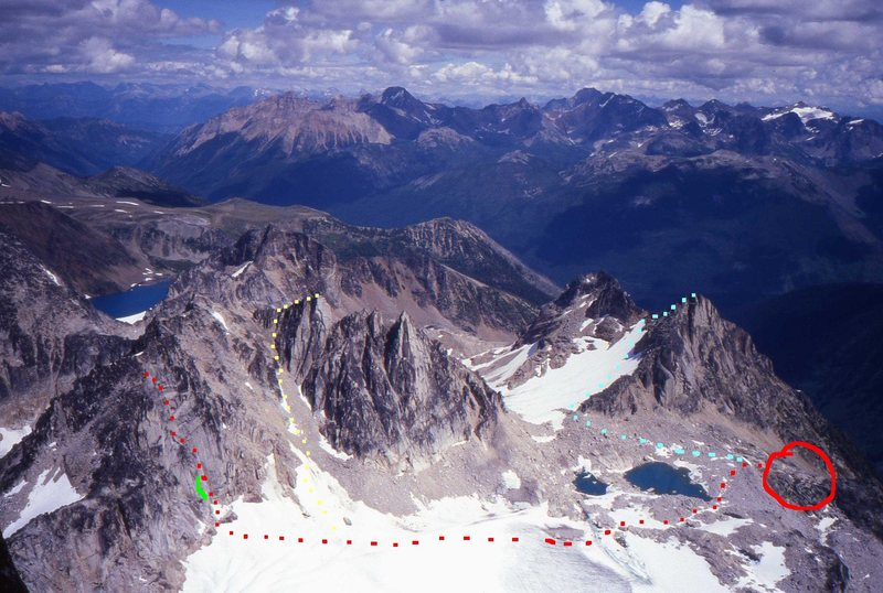 Crescent Towers<br> Photo by MP contributor Kurt Johnson<br> <br> Yellow - North Ridge via Southwest Gully