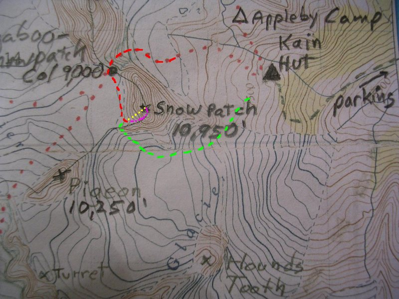 Southwest Ridge, Snowpatch Spire<br> contour interval:  100 feet<br> <br> Red - Bugaboo-Snowpatch Col Approach<br> Purple - Southwest Ridge Direct<br> Yellow - Kraus-McCarthy <br> Green - Snowpatch Rappels