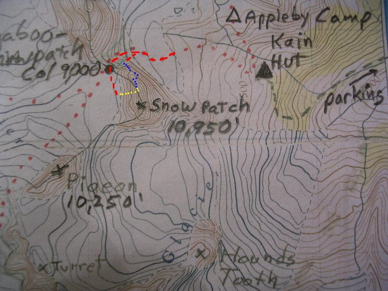 Bugaboo Corner Map<br> contour interval: 100 feet<br> <br> Red - Bugaboo-Snowpatch Col<br> Blue - Bugaboo Corner to North Summit<br> Yellow - Becky-Greenwood/Super Direct Rappels<br>