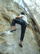 Rock Climbing Photo: Going right off triangle hold to sloper crimp rail...