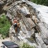 Jill Tatarski on Brown Suga. Awesome boulder.