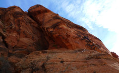 Rock Climbing Photo: Climber starting up P2. We easily combined P1 & P2...