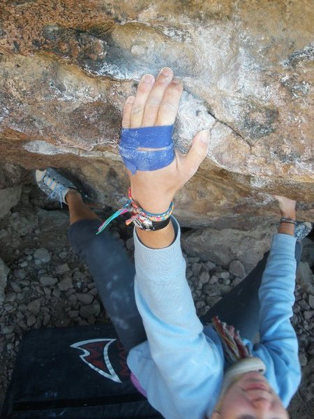 Rock Climbing Photo: Jill on the first big move of Javelina Center....w...