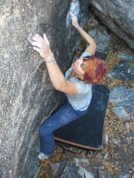 Rock Climbing Photo: Fingerlock to slopey rail.