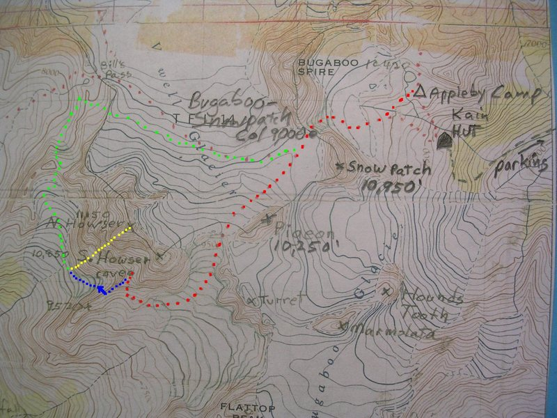 All Along The Watchtower<br> <br> Red - Bugaboo-Snowpatch Col Approach<br> Blue - West Face Approach Rappels<br> Yellow - All Along the WatchTower<br> Green - How to escape, instead of re-climbing the rappels.