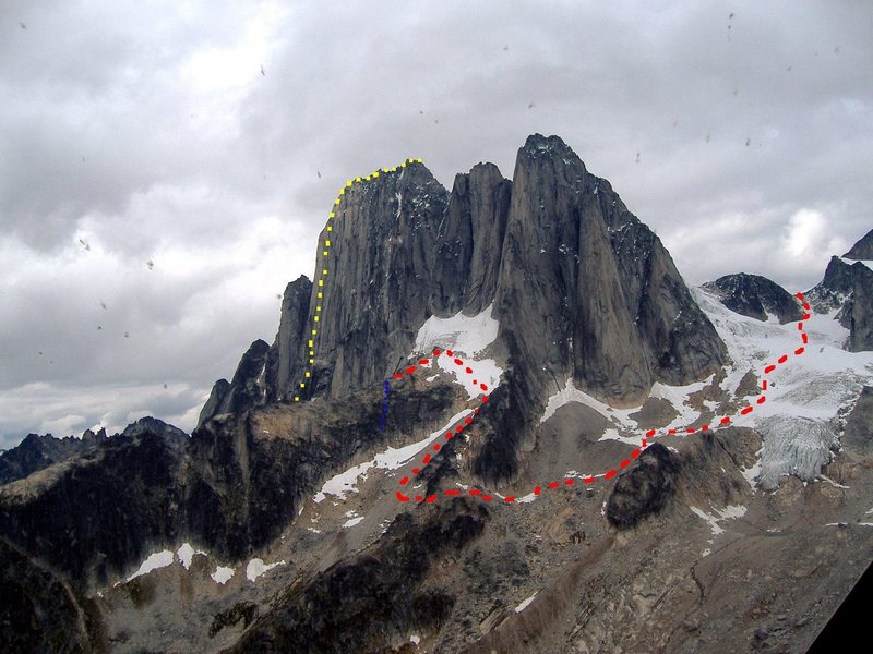 All Along the Watchtower, North Howser Tower<br> Photo my MP contributor Timmy! Tormey<br> <br> Red - Approach from Howser-Pigeon Col<br> Blue - West Face Access Rappels<br> Yellow - All Along the Watchtower